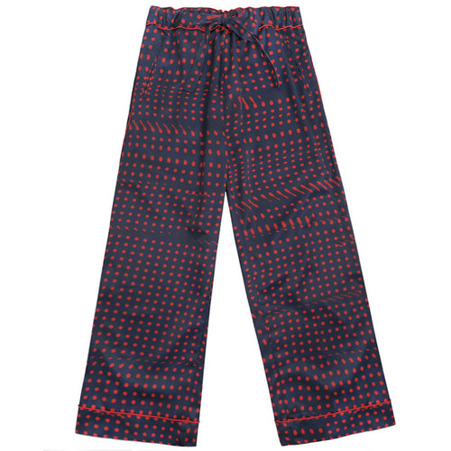 Navy and Red Printed Wide Leg Pant
