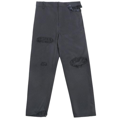Navy Pinstripe Distressed Pant