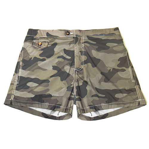 Camouflage Print Swim Trunks
