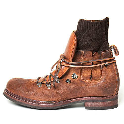 Leather Hiking Boot with Knit Sock