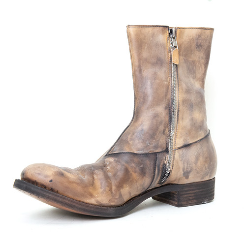 Washed Grey Horse-Leather Boot