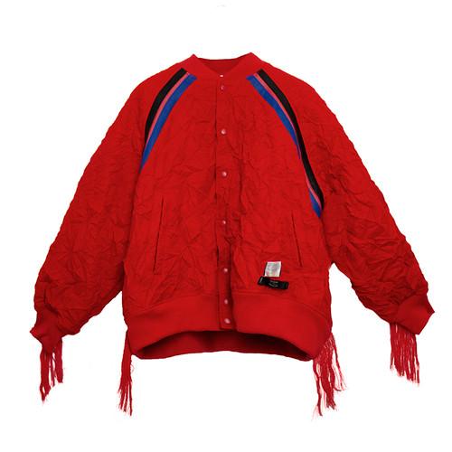 Crinkled Fringed Varsity Jacket