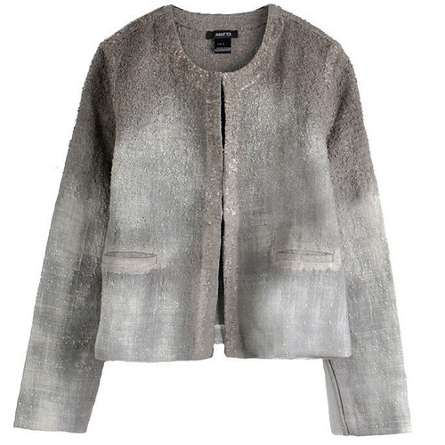 Grey Boucle Dégradé Crop Jacket