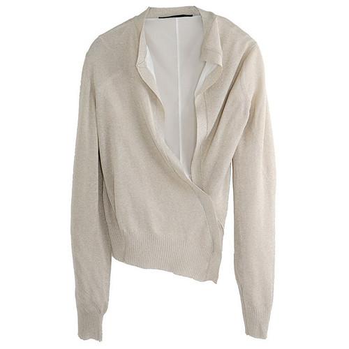 Ivory Lurex Asymmetric Cardigan