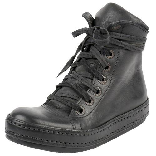 Handmade Black Leather Hi-Top