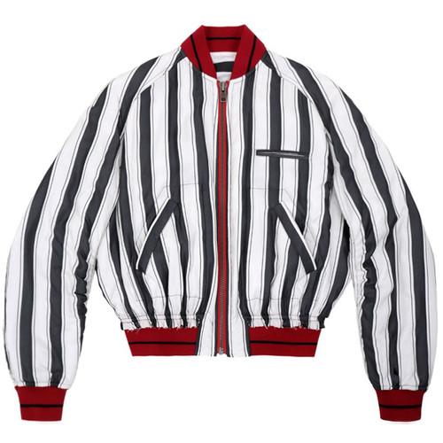 B & W Stripe Silk Bomber Jacket