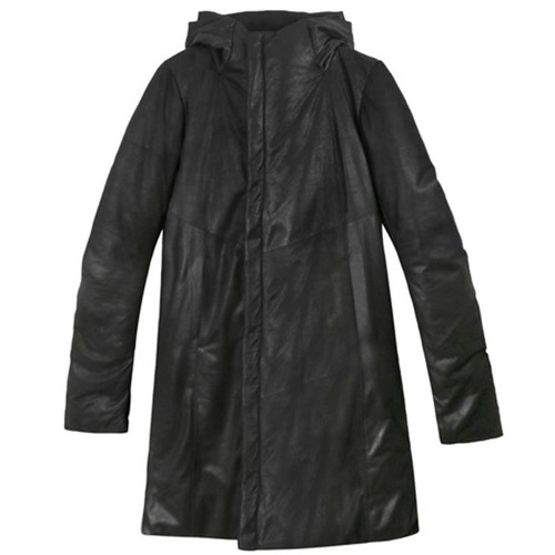 Glossy Long Leather Hooded Parka