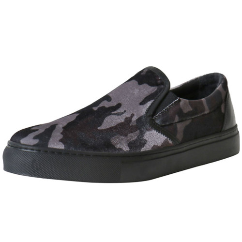 Grey Velvet Camo Sneaker
