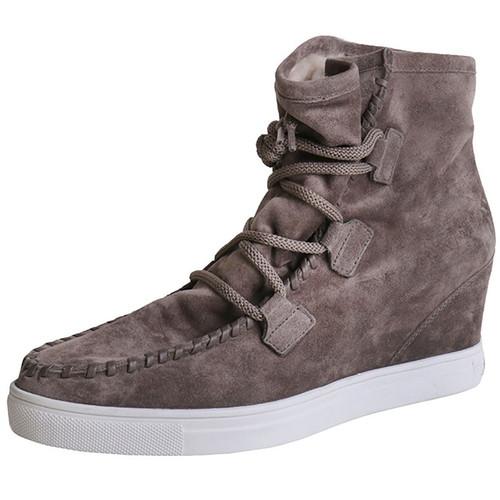 Brown Suede Wedge Sneaker Boot