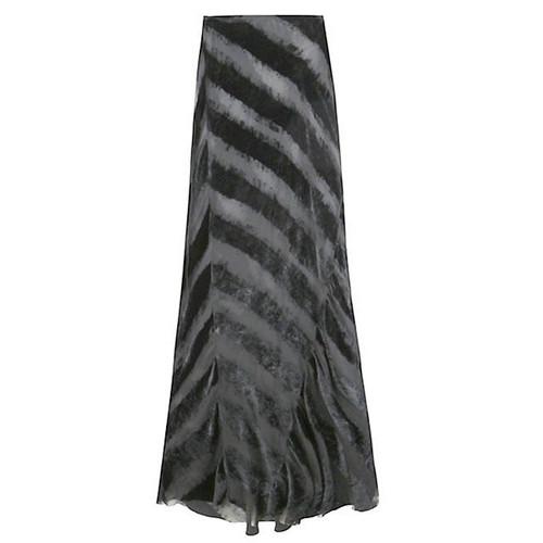 Black Velvet Striped Long Skirt