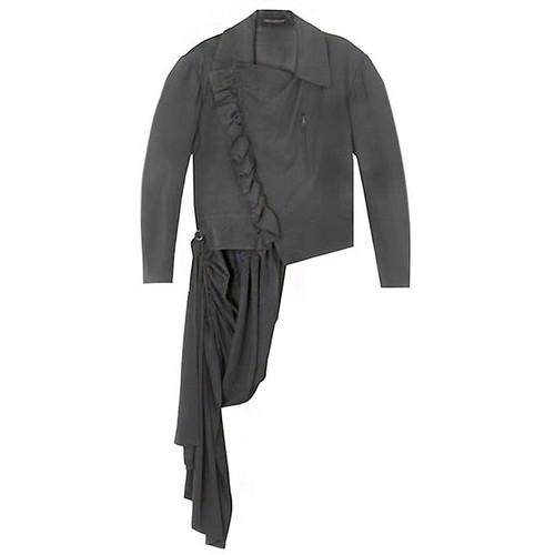 Black Gabardine Ruffle & Train Jacket