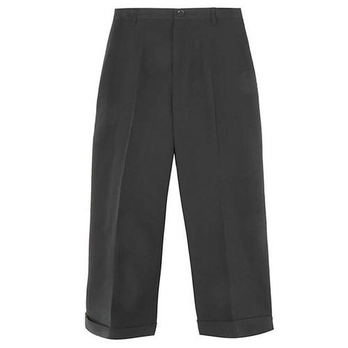 Black Gabardine Cuffed Trouser
