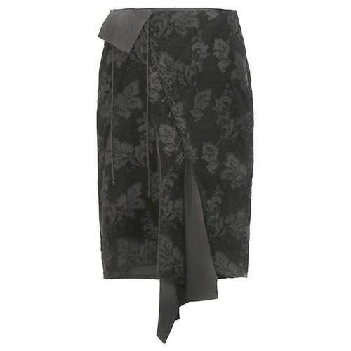 Patterned Black Velvet Laced Front Skirt