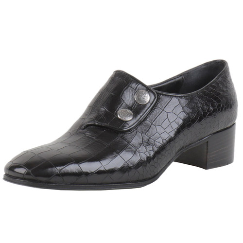 Black Croc Two Button Shoe