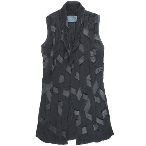 Black 'Leather Woven' Knit Vest