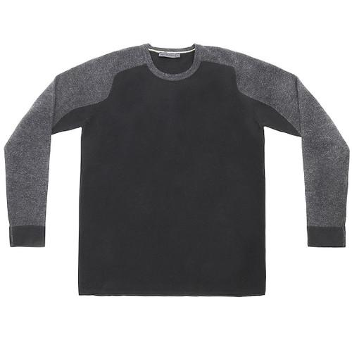 Black & Grey Color Block Raglan Sweater