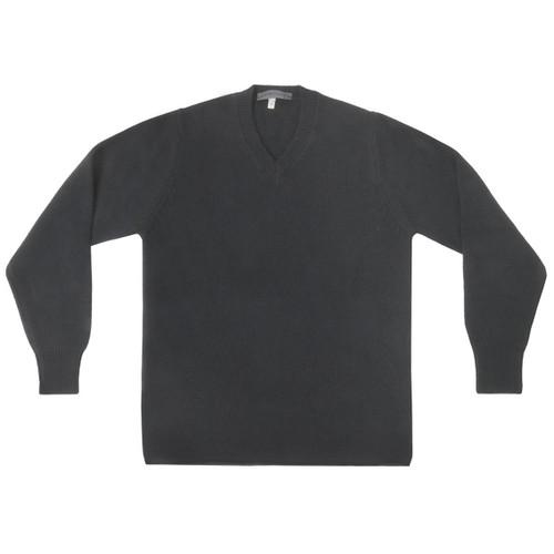 Black Cashmere Vee Neck Sweater