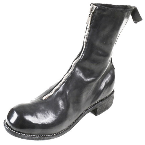 Black Front Zip Mid Boot