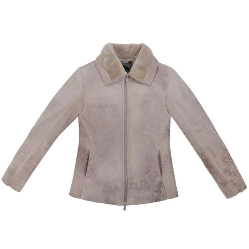Mottled Taupe Shearling Jacket