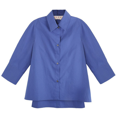 Blue Mid-Sleeve Dress Shirt