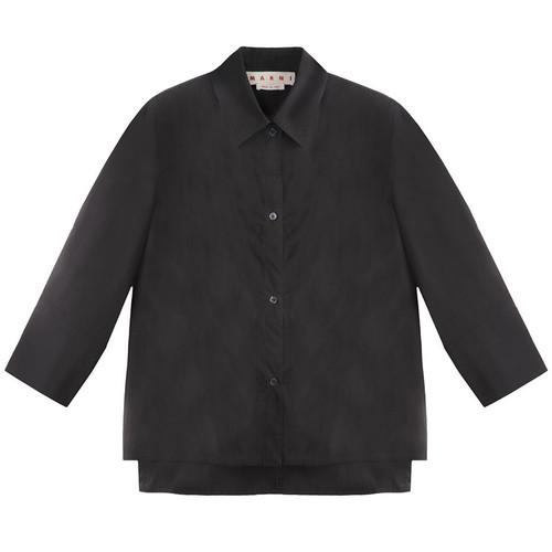 Black Mid-Sleeve Dress Shirt