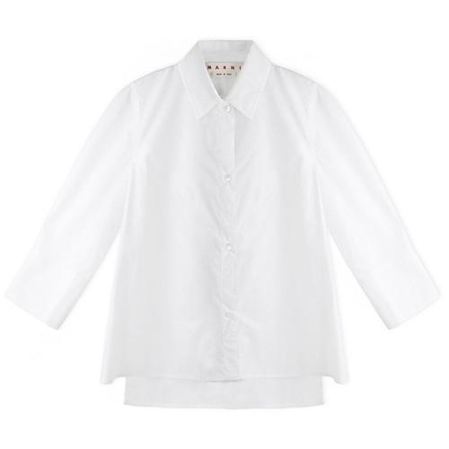 White Mid-Sleeve Dress Shirt
