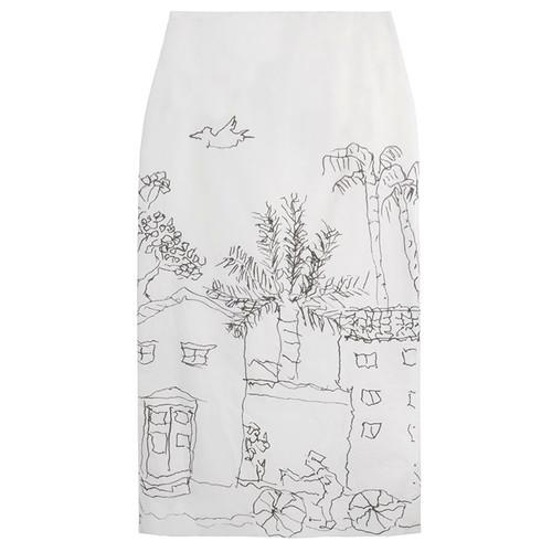Lily White Poplin Landscape Skirt
