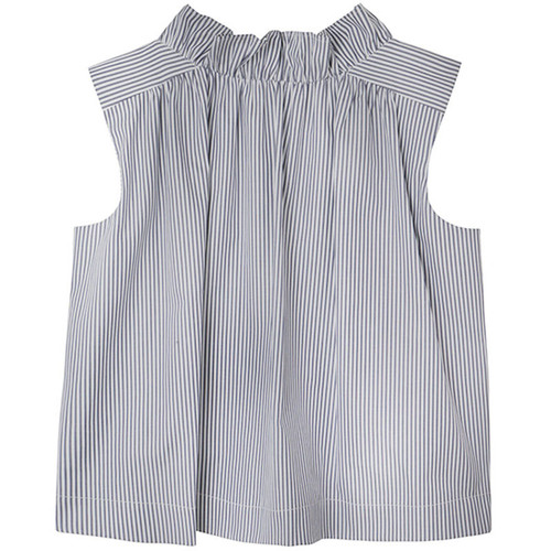Navy and White Striped Sleeveless Blouse