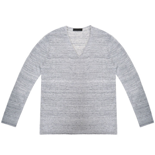 Grey V Neck Linen Long Sleeve Sweater