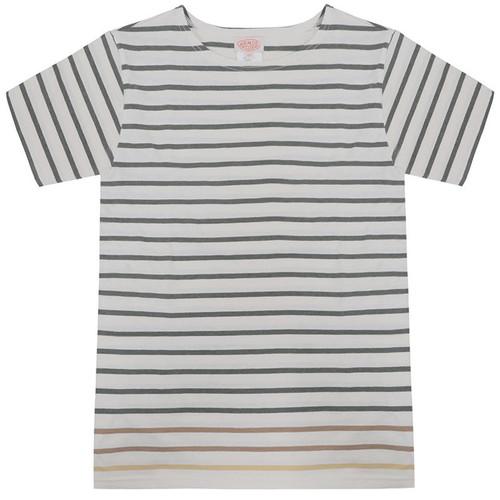 Olive & White Short Sleeve Stripe Tee