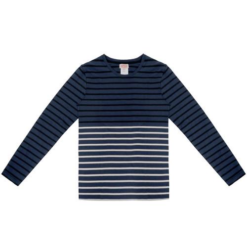 Dark Blue & Black Striped Long Sleeve Tee