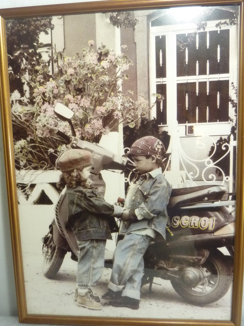 "Framed Print Picture ""Biker With His Girl""  W17"" x H24"" unsigned"