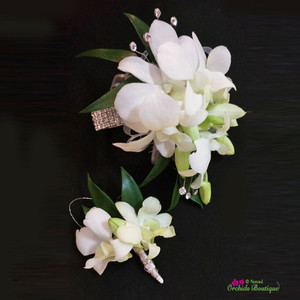 White Dendrobium Orchid Corsage and Boutonniere