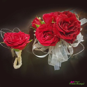 Red Mini Spray Roses Corsage and Boutonniere