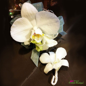 Phalaenopsis and Dendrobium Orchid Corsage and Boutonniere
