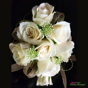 White Mini Spray Roses Corsage 2