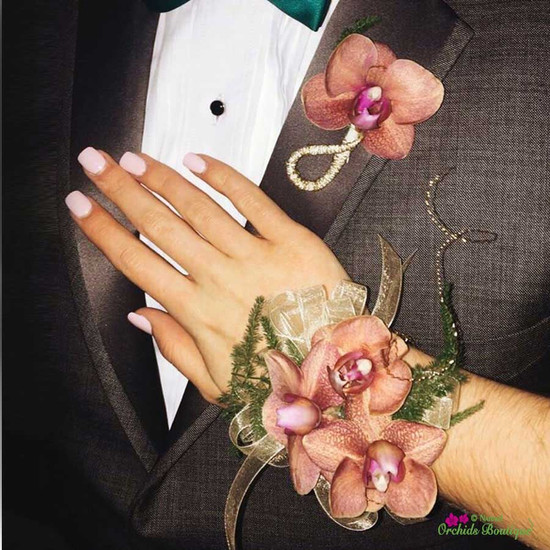 Blush Phalaenopsis Orchid Corsage and Boutonniere