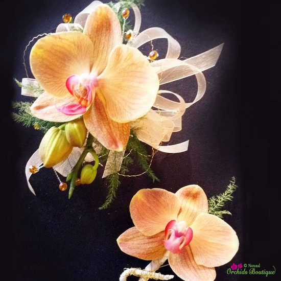 Peach Phalaenopsis Orchid Corsage and Boutonniere