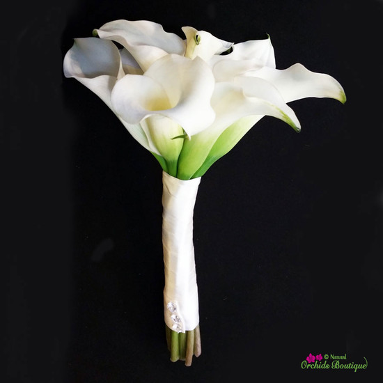 White Mini Cala Lilies Prom Bouquet