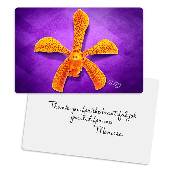 Orange Makara Zen Metal Greeting Card