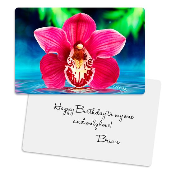 Pink Cymbidium Tranquility Metal Greeting Card