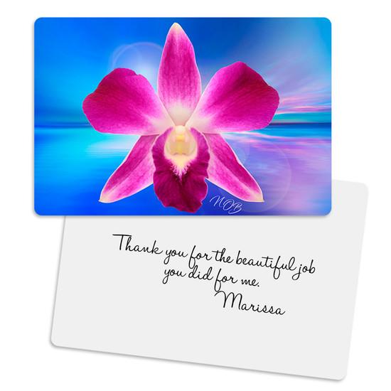 Pink Dendrobium Balance Metal Greeting Card