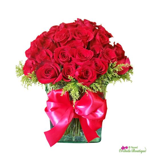 Exotic Red Roses Flower Arrangement