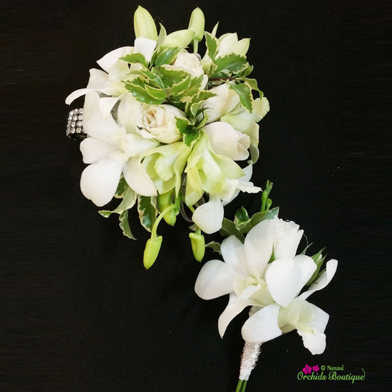 Mini Spray Rose With Dendrobium Orchid Corsage and Boutonniere