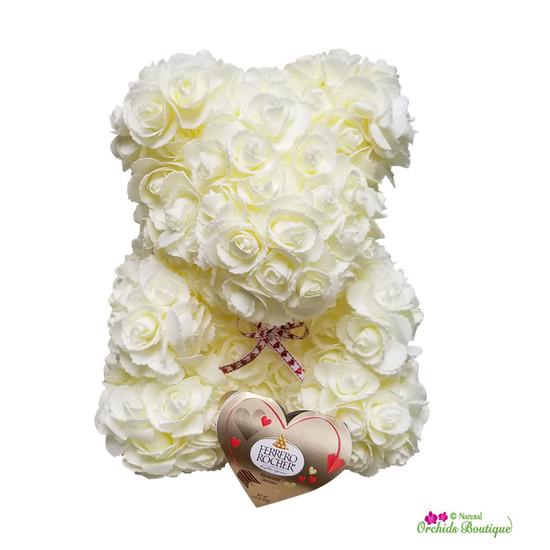 Bear Me Baby Mini Roses Flower Arrangement for Valentines