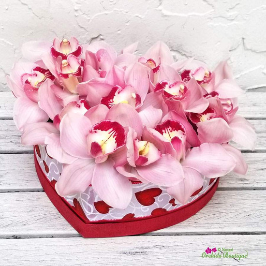 Love You Heart Cymbidium Flower Arrangement