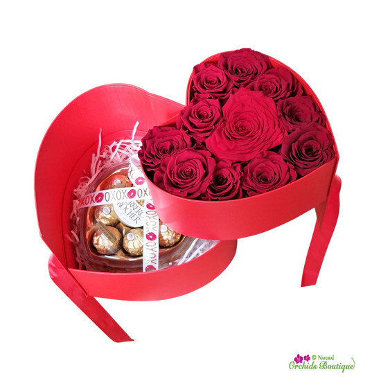 Sweetheart Red Roses Just For You Gift Box With Chocolates