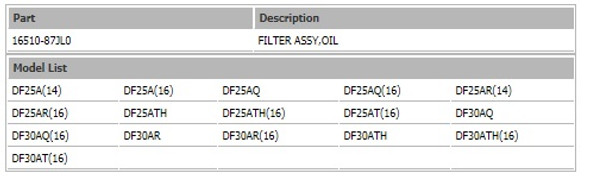 16510-87J00 Suzuki Oil Filter DF20-DF70