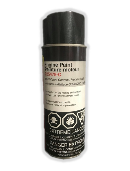 025479-C Moeller Engine Paint OMC Cobra Charcoal Metallic Paint 12oz