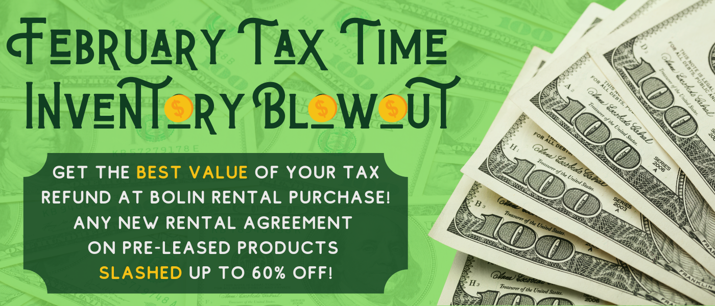 February Tax Time Inventory Blowout banner